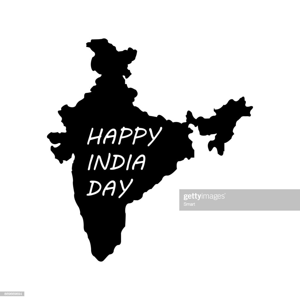 Happy Republic Day in India. Territory of India on a white background
