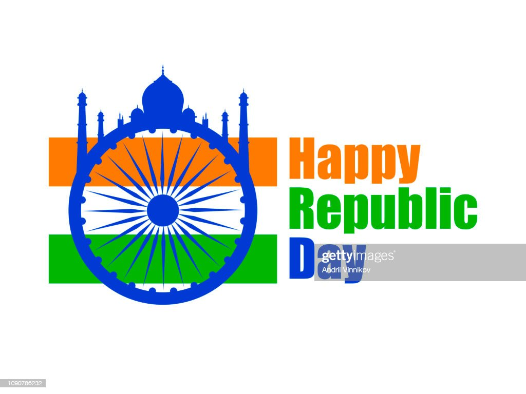 Happy Republic Day of India. National flag and simbol of India. Vector illustration