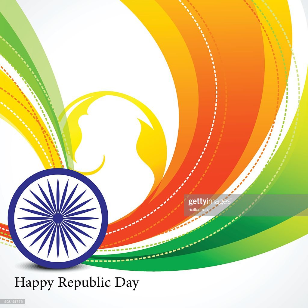 happy republic day wave background with ashok chakra