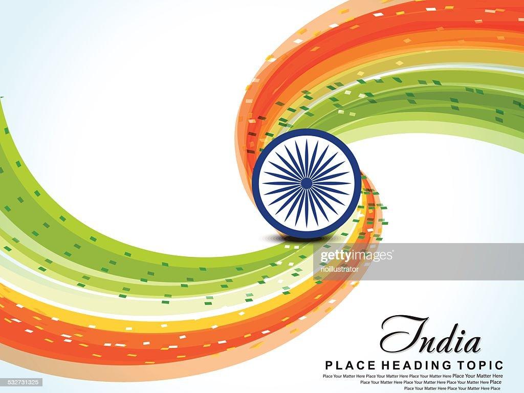Happy republic day wave background with tiranga