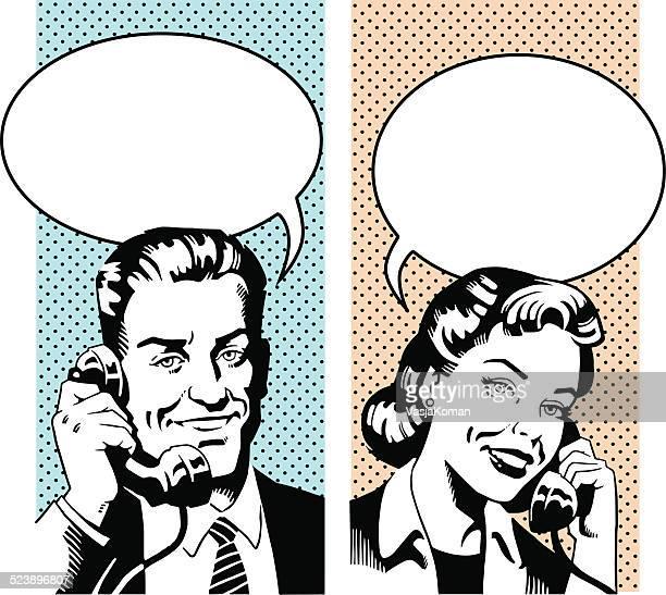 glückliches paar sprechen auf retro telefon - clipart stock-grafiken, -clipart, -cartoons und -symbole