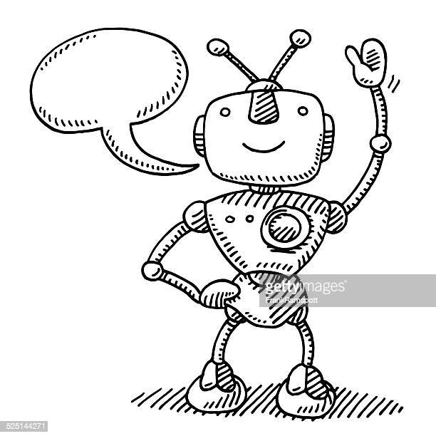 Happy Robot Waving Hand Speech Bubble Drawing