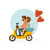 happy romantic cheerful couple riding scooter with heart shaped balloons