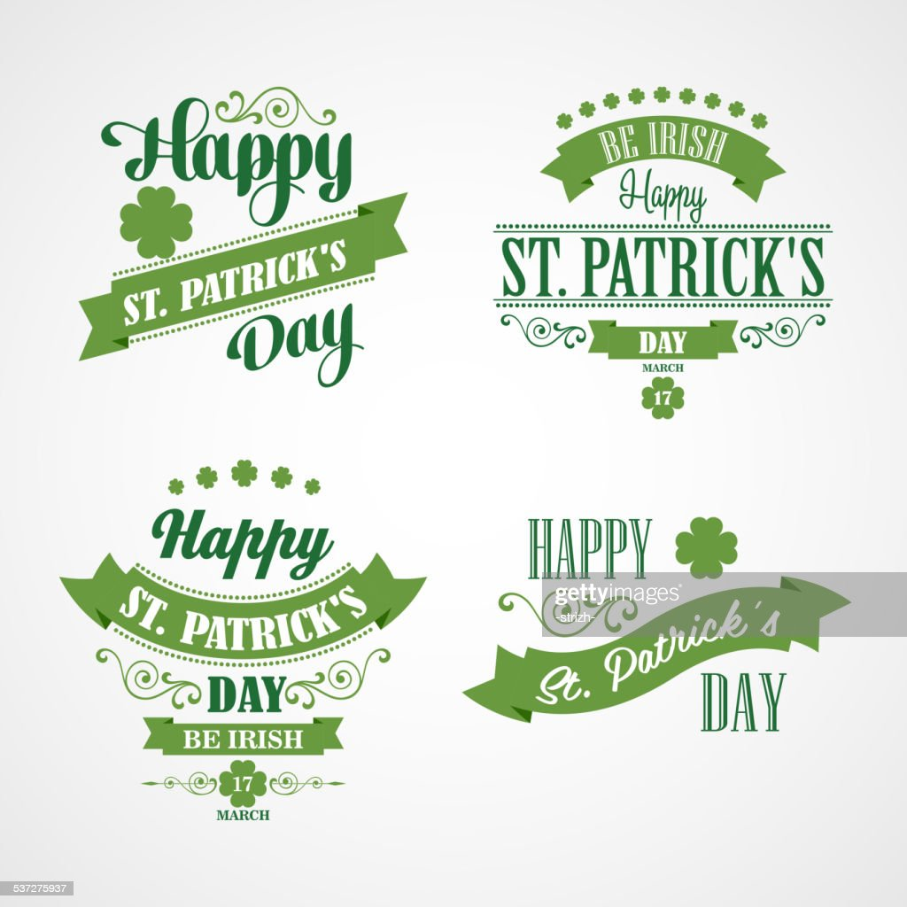 Happy Saint Patrick's Day Card. Typographic With Ornaments,  Ribbon