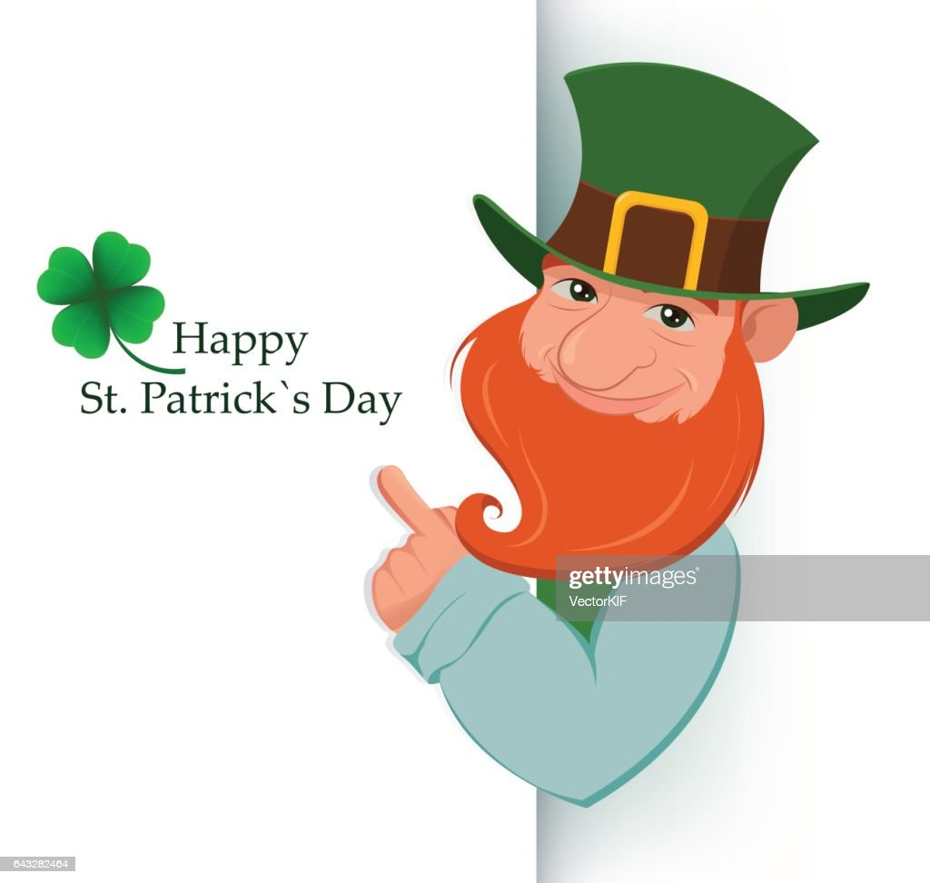 Happy Saint Patrick's Day. Cartoon happy leprechaun showing on white sign.