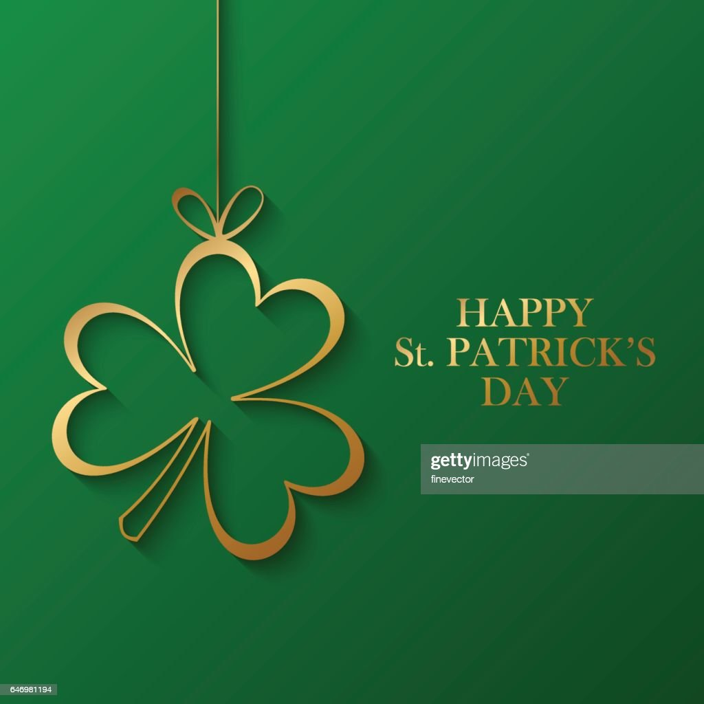 Happy Saint Patrick's Day greeting card with golden shamrock.