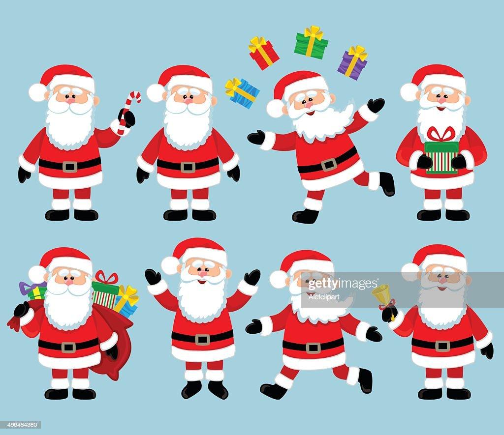 Happy Santa Claus. Big bundle vector set.