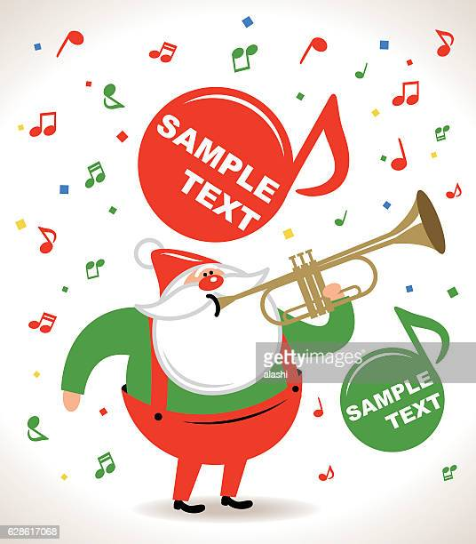 happy santa claus blowing a trumpet, music notes flowing - parade stock illustrations