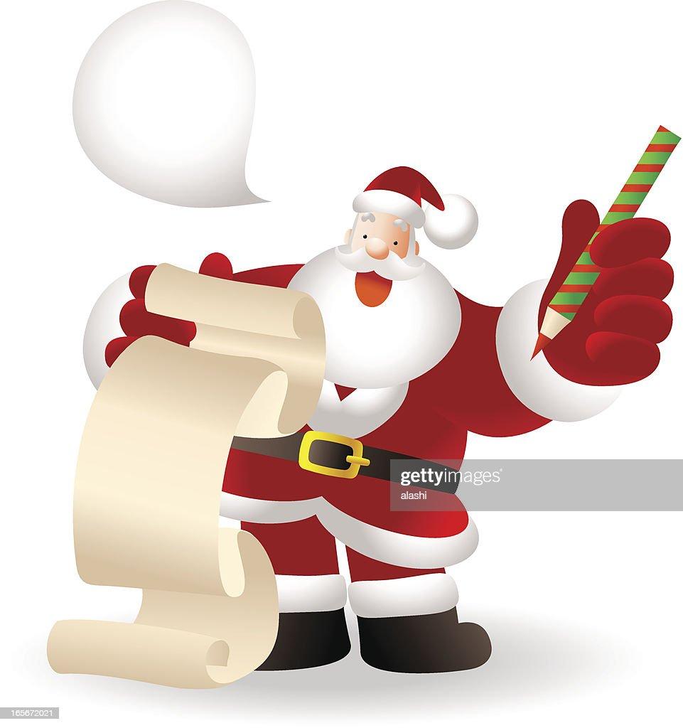 Happy Santa Claus Checking A List
