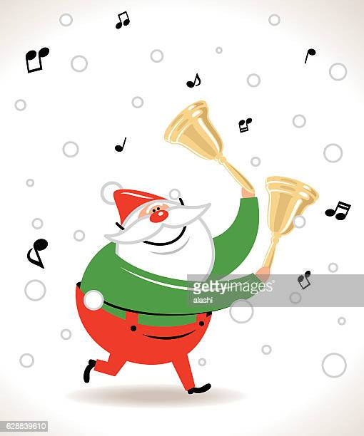 Happy Santa Claus ringing a golden bell, music notes flowing