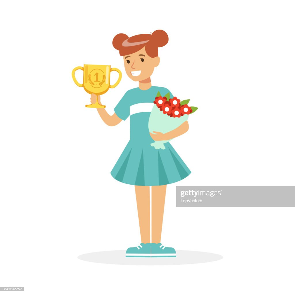 Happy School Girl Holding Winner Cup And Bouquet Of Flowers Kid
