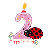 Happy second birthday candle. Two numbered candle. Colorful ladybug. Greeting card background