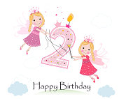 Happy second birthday with cute fairy tale greeting card