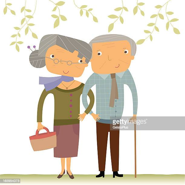 happy senior couple - mature adult stock illustrations
