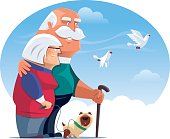 happy senior couple with dog and doves