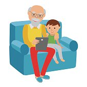 Happy senior man sitting sofa read with tablet for grandson.