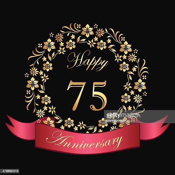 happy seventy fifth anniversary card - number 75 stock illustrations, clip art, cartoons, & icons