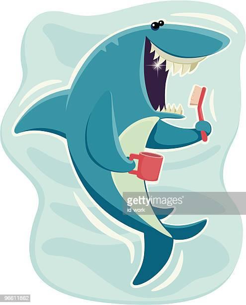 happy shark - brushing teeth stock illustrations
