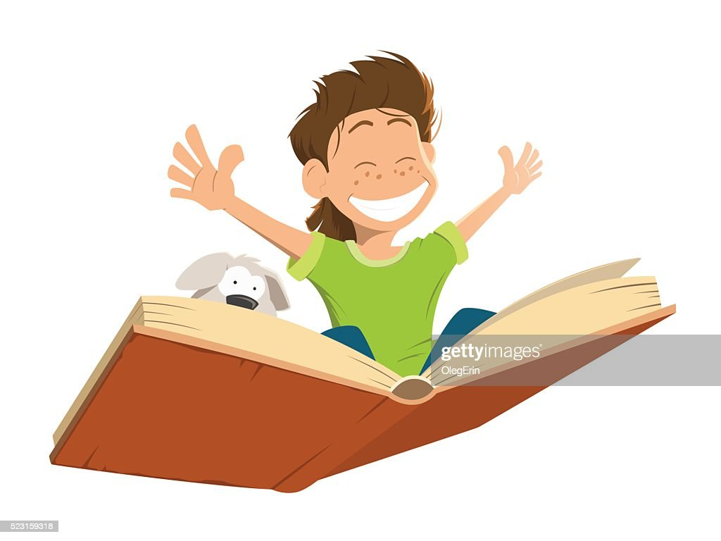 Happy smile kid boy child flying big book cute puppy