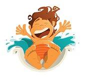 Happy smile kid child boy aquapark water park ride slide