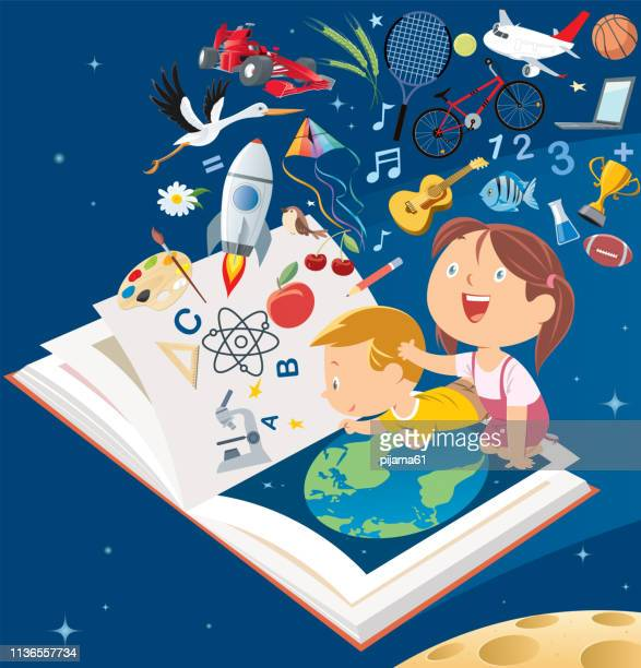 happy smile kids flying big book - reading stock illustrations