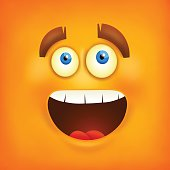 Happy smiley emoticon square background