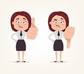 Happy smiling and angry sad business woman office worker characters show likes and dislikes hand gesture sign