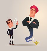 Happy smiling businessman office worker and business gin characters