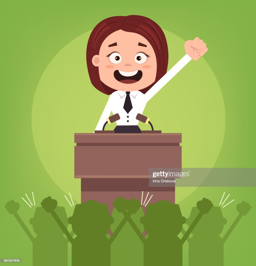 Happy smiling businessman office worker politician woman character speaking from rostrum