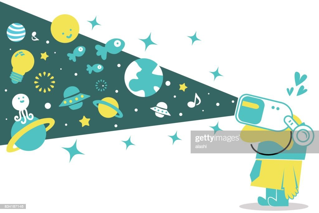 Happy smiling businessman (man) wearing Virtual reality glasses (VR interface), travelling through space (fantasy world)