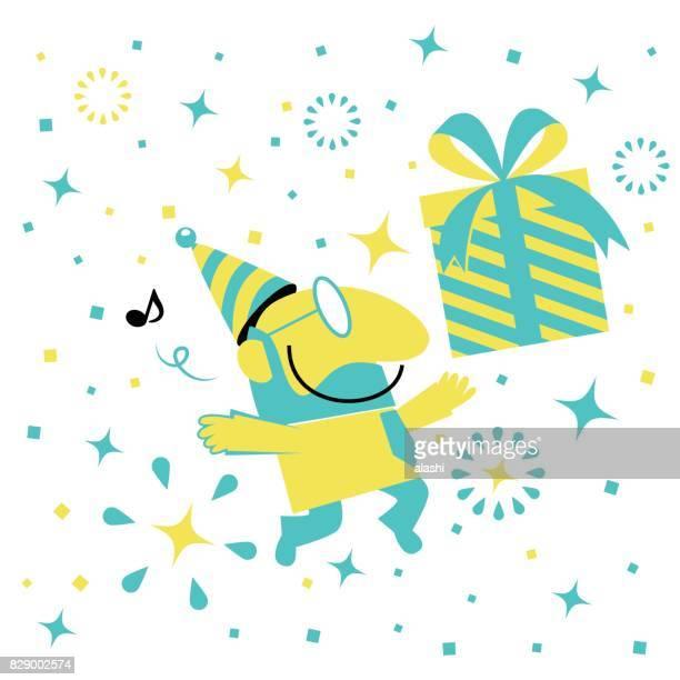 Glücklich lächelnd Geschäftsmann (Mann, Vater, Lehrer) mit Party Hut und Geschenk-Box springen für Feier
