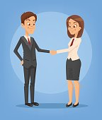 Happy smiling businesswoman and businessman characters shaking hands. Successful deal