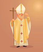 Happy smiling catholic priest mascot character dressed in white gold clothes