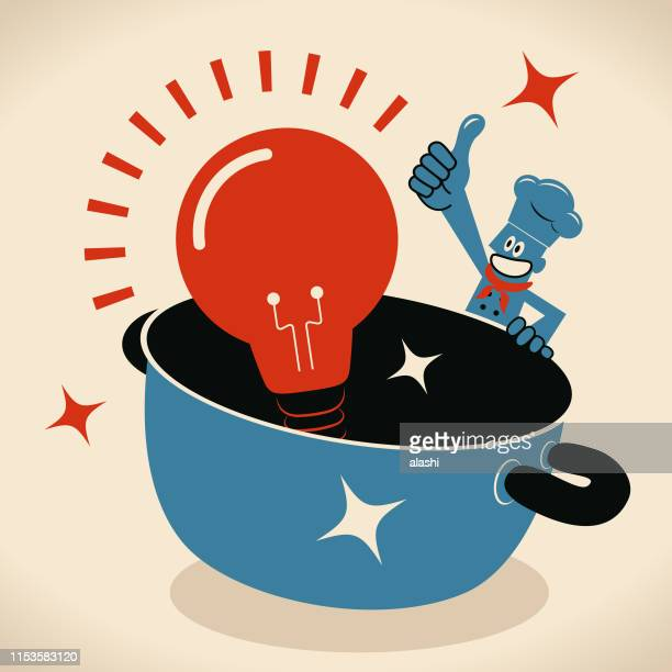 happy smiling chef with a big pot and a big idea light bulb - stew pot stock illustrations