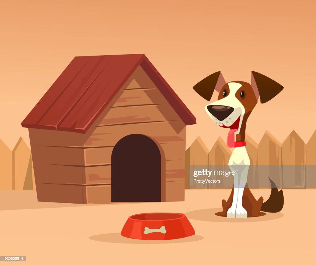 Happy smiling dog character guards house