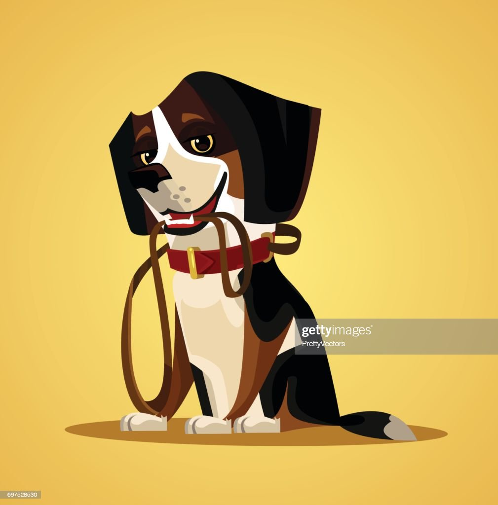 Happy smiling dog character hold leash in mouth