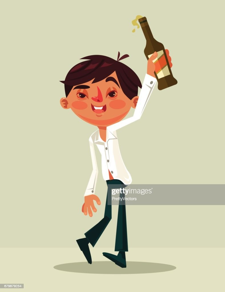 Happy smiling drunk office worker man character mascot