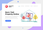 Happy smiling family buying house. Sale and rent property. Vector flat cartoon graphic design banner poster concept
