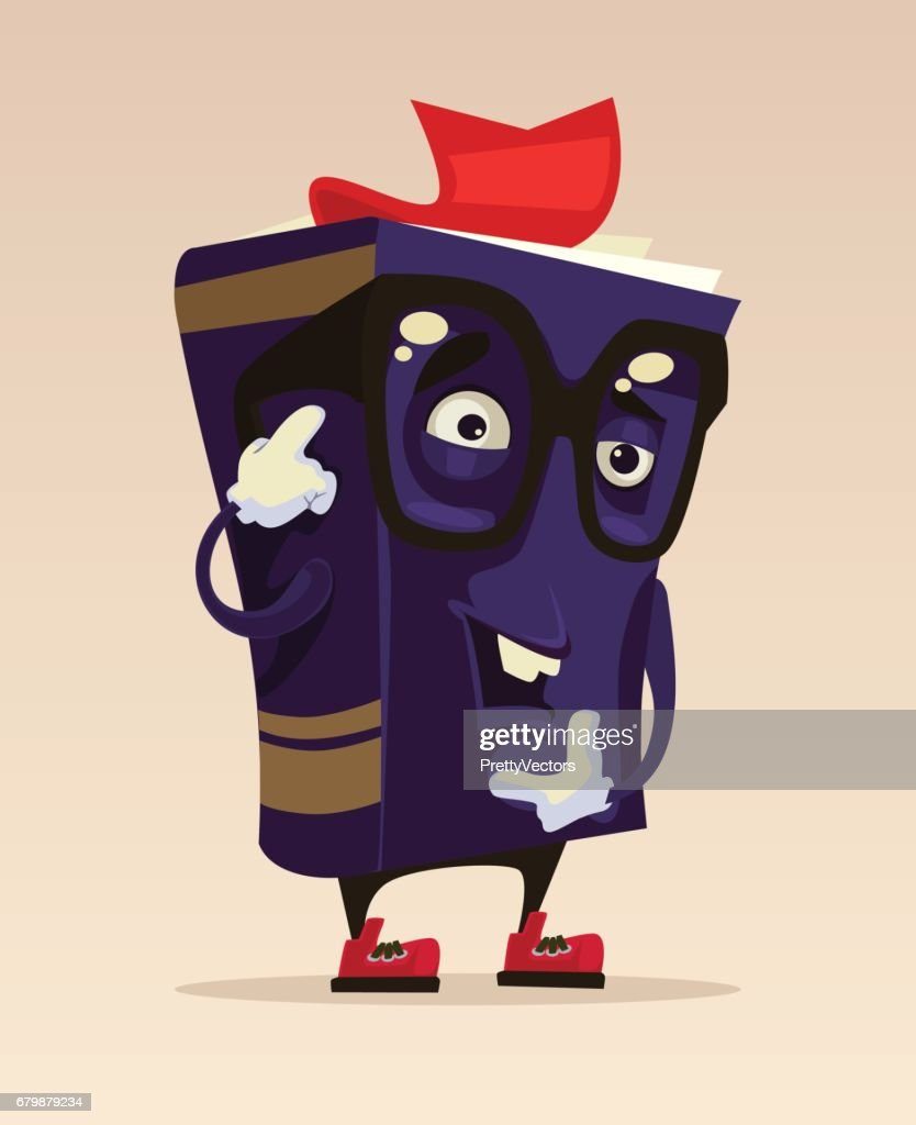 Happy smiling funny drawing smart book character mascot