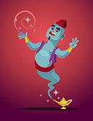 Happy smiling Genie man mascot character from magic lamp
