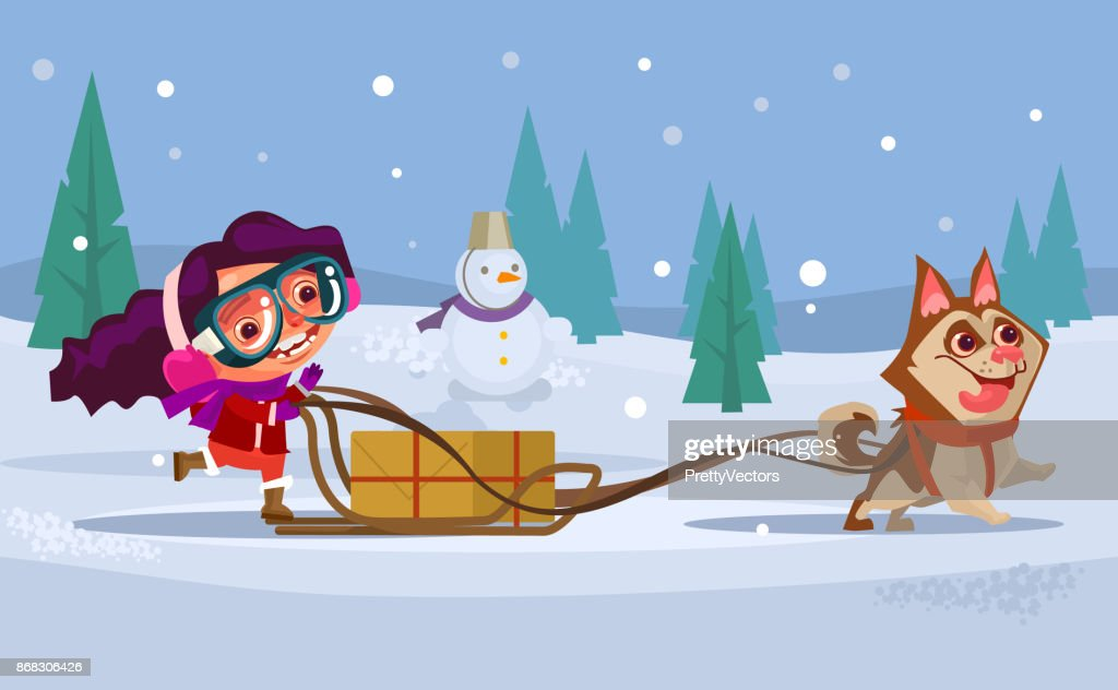 Happy smiling girl child character riding dog husky sled. Winter holiday concept