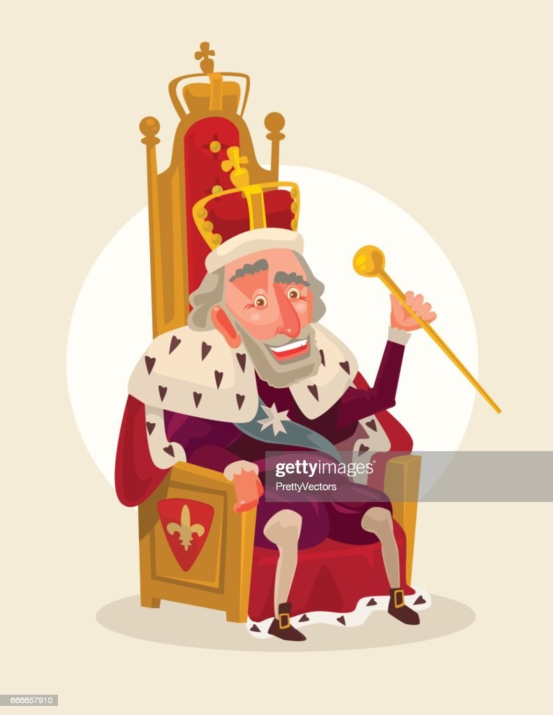 Happy smiling king man character sits on the throne