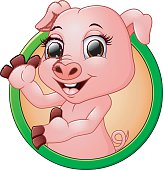 Happy smiling little baby cartoon pig in round frame