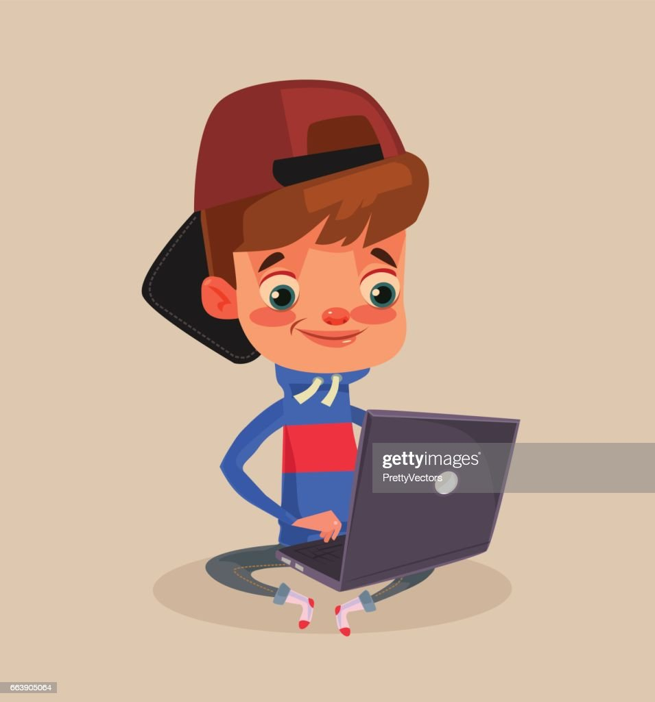 Happy smiling little boy character sitting on floor and using laptop