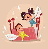 Happy smiling little children brother boy and sister girl characters fight with pillows