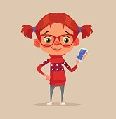 Happy smiling little girl child teen character using smartphone
