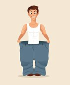 Happy smiling man character loose weight and try big pans