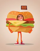 Happy smiling man promoter character mascot dressed in hamburger suit
