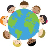 Happy smiling multicultural kids around the world