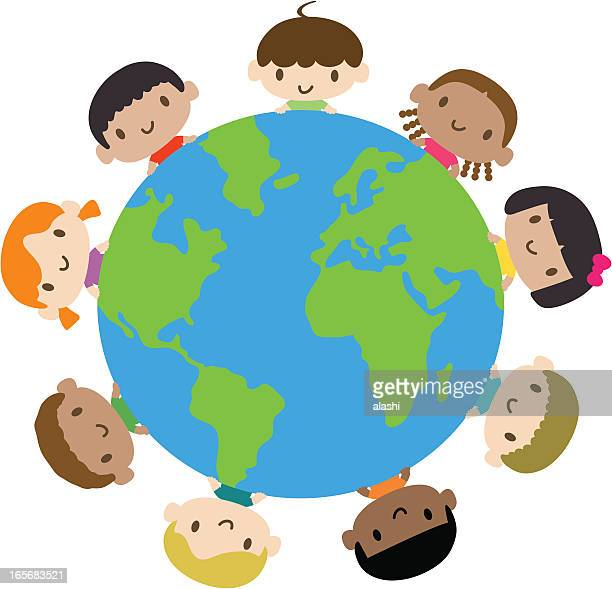 happy smiling multicultural kids around the world - day stock illustrations